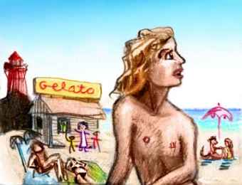 colored pencil sketch of a long-haired man at a crowded beach; lighthouse and gelato stand in background.