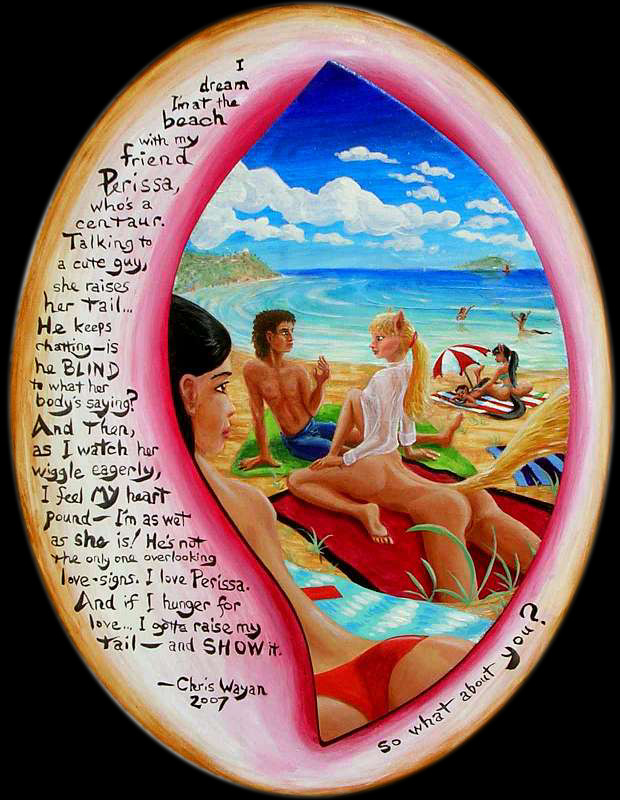 Painted beach scene. Asian girl lying on a towel gawks at a centaur-girl talking to a human-looking boy, raising her tail, obviously turned on. Click to enlarge.