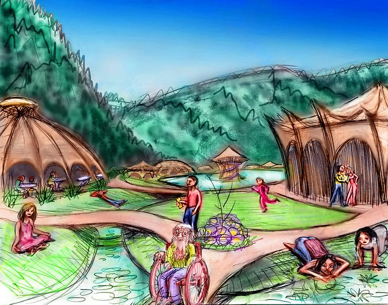 Sketch of a dream: Monet's built a cluster of radial wood pavilions, pools and paths. Redwood hills in background.