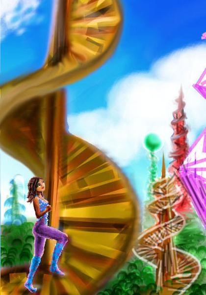 Dream: I'm a futuristic librarian climbing a spiral tower in a surreal city.