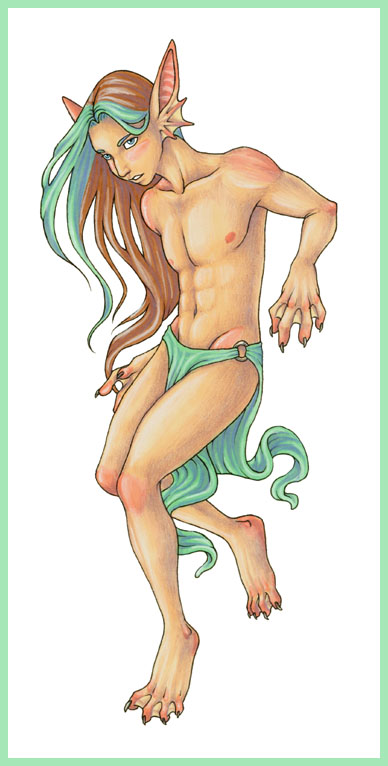 My boyfriend Preston in my dream, in a green loincloth, with long green-streaked hair, webbed hands, finlike ears, sizable claws, and pink patches over his joints like Pink Child.