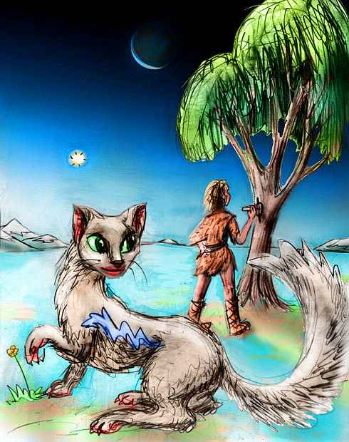 Dream: life comes to Pluto as the snow melts. A cave-girl carves a prayer in a tree while an ermine dancer watches. Click to enlarge.