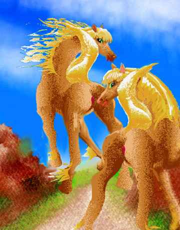 Dream: two blonde mares climb rocks.