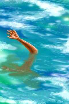 Dream: a hand reaches out of foamy water.