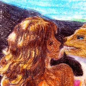crayon drawing of a purring puma licking a blonde girl's face.