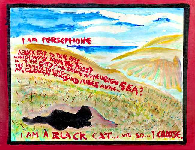 Black cat on a hill debates (in red words) whether to seek the city or the sea. Click to enlarge.