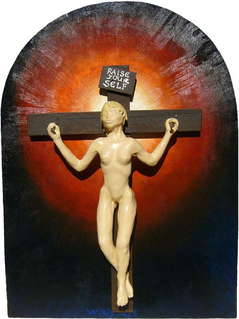 Icon of of a girl on a cross raising herself, on an arched Romanesque backing board, dark except for a halo. Sculpture by Wayan. Click to enlarge.