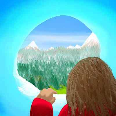 Dream: long-haired kid in a maroon jacket peers through a hole in an ice wall at a mountain valley beyond.