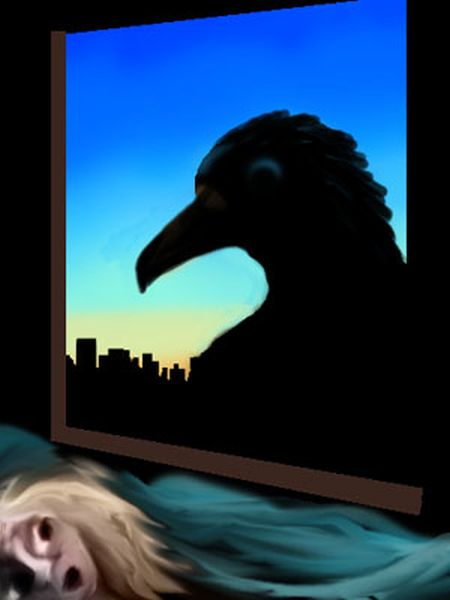 Silhouette of a huge raven, looking in a window at someone in bed.