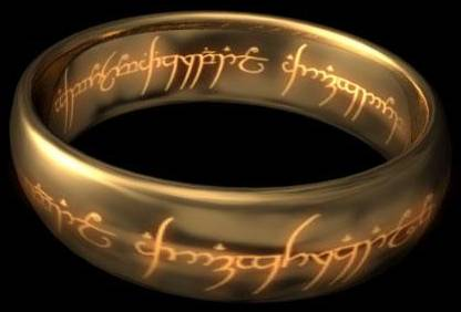 Sauron's golden ring with glowing inscription.