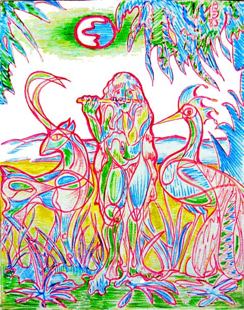 a psychedelic scribbly version of Henri Rousseau's painting of a flutist in the jungle. Feltpen by Wayan. Click to enlarge.