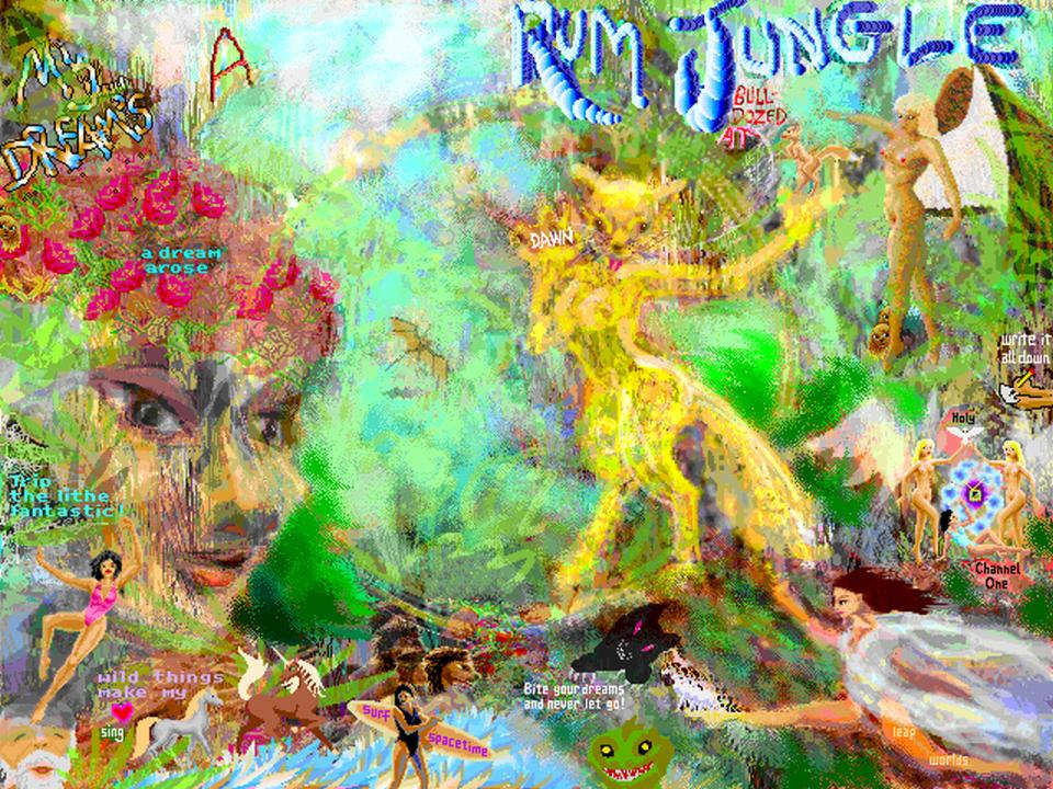My dream-jungle, full of creatures shouting messages. Sketch by Wayan; click to enlarge.