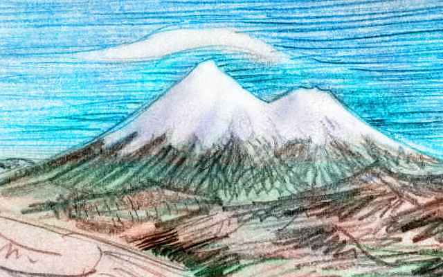 Sketch of Mt Shasta: twin snowcapped volcanic cones, crowned in lenticular clouds