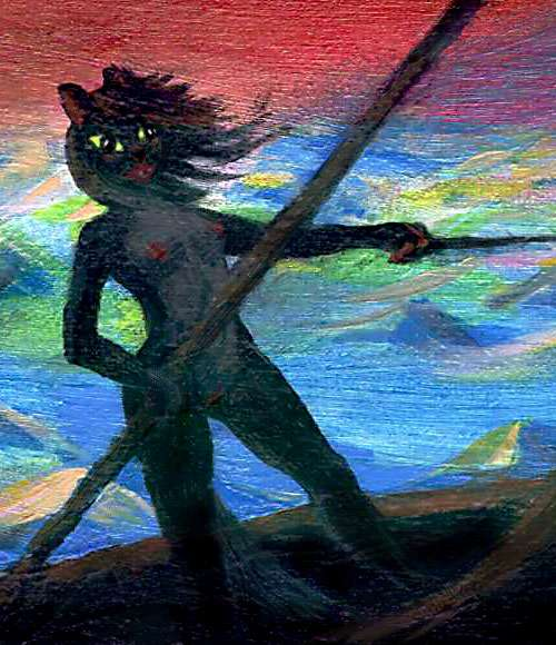 A black cat-girl sailing under a red sky.