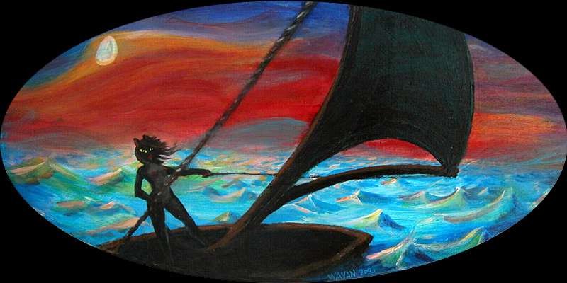 Under a yellow moon, a black cat-girl sails across the Atlantic.  Click to enlarge.