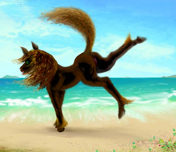 my anima or tutelary spirit, Silky, in the form of a black mare, kicking her heels up at the beach