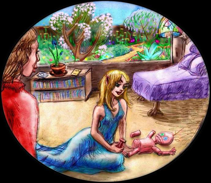 Dream: An elf-woman assembles a monkeyish doll on the floor, while I watch, paralyzed by a spell. Click to enlarge.