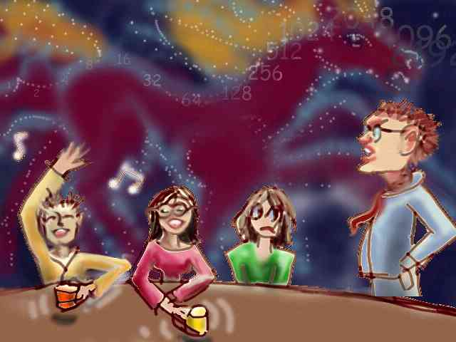 Cartoon figures argue round a table while behind them a starry horse gallops through space