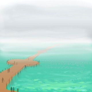 A pier stretching miles into a misty sea. Dream sketch by Wayan.