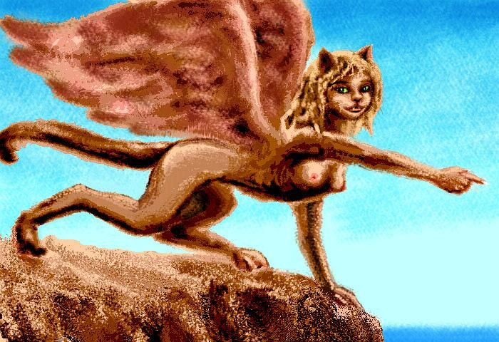 Beautiful sphinx on a cliff-edge, leading me onward; sepiatone on blue background.