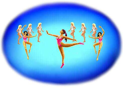 9 ballerinas on a blue stage.