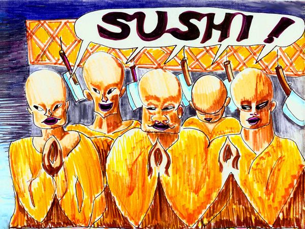 Six Buddhist sushi masters with saffron robes and cleavers.