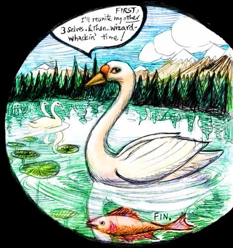 Sketch of a dream by Wayan: cursed by a wizard, turned to a swan, I find... I'm glad!