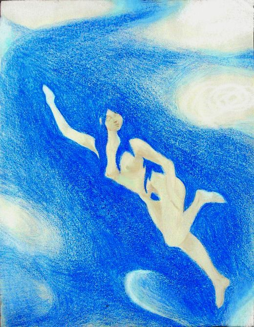 Swimmer whose hair blends with water. Dream-sketch (crayon) by Wayan; click to enlarge.