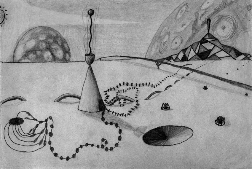 Surreal pencil landscape by Chris Wayan, done age nine or so, as a homage to Yves Tanguy.