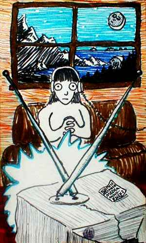 tarot card, the 2 of swords: a plugged-in media junkie