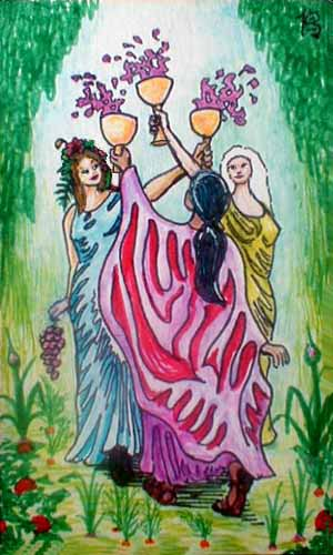 tarot card: 3 of cups: three women pledge friendship.