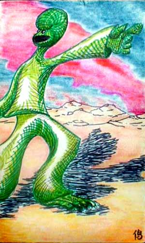 Tarot card: the Driven Leader, or, the Charismatic Lizard.