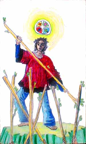 Tarot card: 7 of wands: An outstanding person beset by six critics.