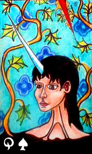 Tarot card: Queen of Swords: Unicorn woman must take care not to inadvertently skewer.