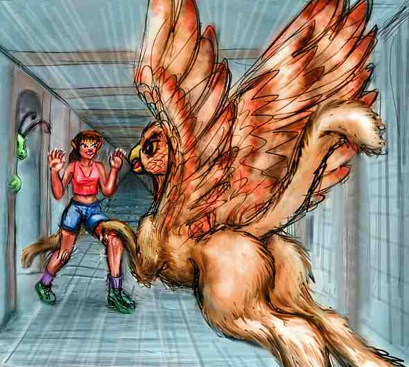 Dream-sketch: a gryphon attacks a girl (me) in an infinite corridor. In defense, she grows lion claws, tail and fangs!  Click to enlarge.