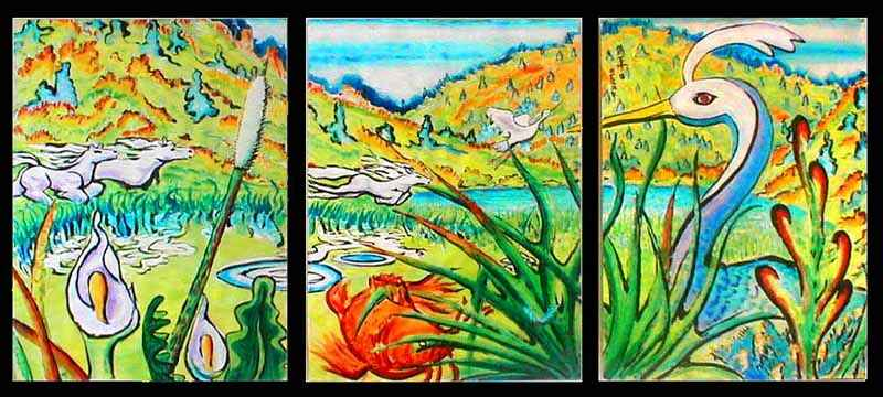 triptych in semi-Japanese style of a marsh and hills with three horses, two herons, one carp.  Click to enlarge.