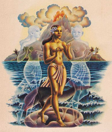 Cover illustration of Lyall Watson's 'Gifts of Unknown Things' (1980, Coronet Books/Hodder & Stoughton; artist uncredited!); an Indonesian dancer flanked by two ghost-girls, with a volcanic islet on horizon