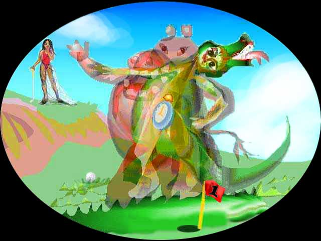 Giselle on a golf course in red leotard leans on golf club, watching a transparent hippo with crocodile inside with man inside with alarm clock inside.