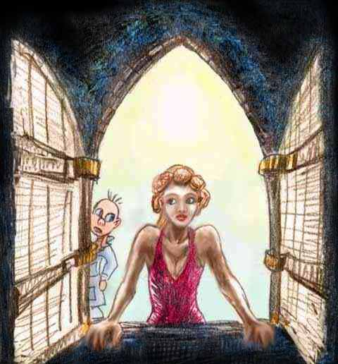Mary Shelley stares moodily  out a gothic window, as Elmer Fudd peers at her