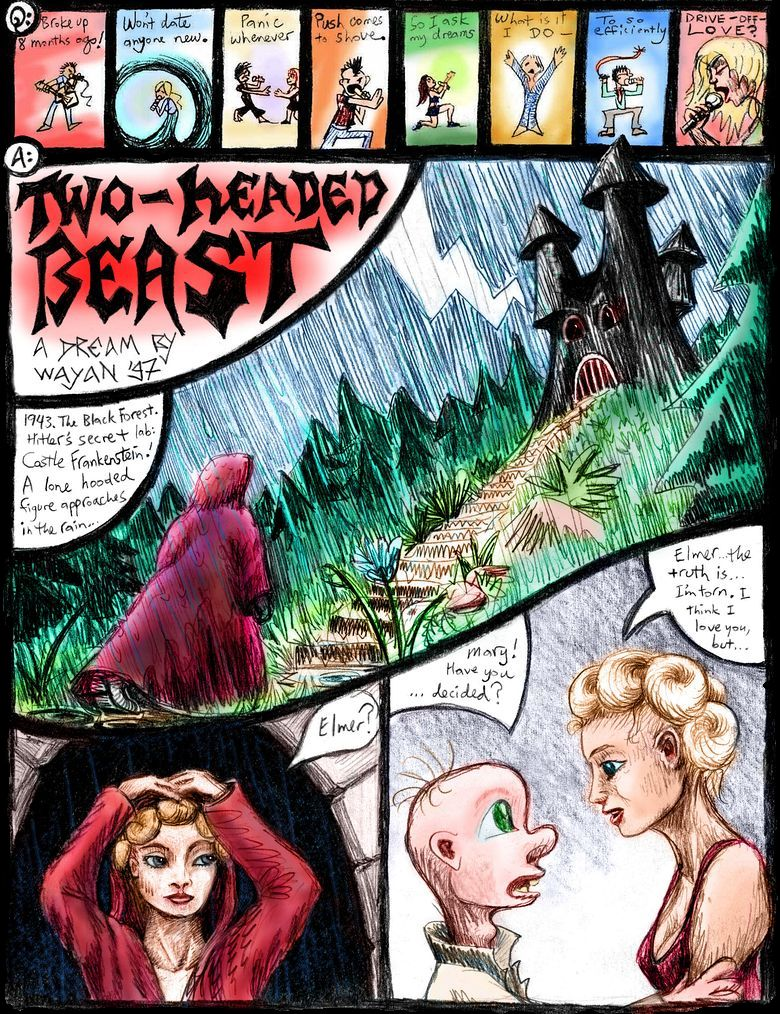 P.1 of 'Two-Headed Beast', a dream-comic by Wayan.