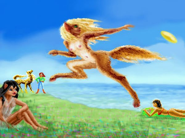 Fauns and dryads play Frisbee in the park