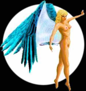 Wasp angel: blonde, blue-eyed and -winged