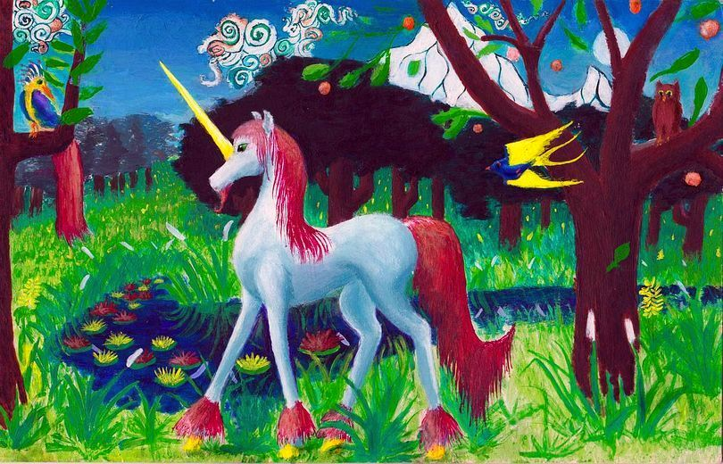 White unicorn with red mane and tail in profile in green fields with trees full of birds; Himalayan peaks on horizon.