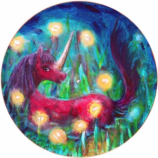 Gold fireflies circle round the horn of a reclining red unicorn, bedding down at dusk...