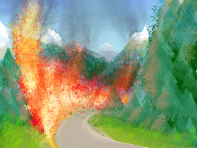 A roadside ditch in Canadian mountains roars with flame. Dream sketch by Wayan.