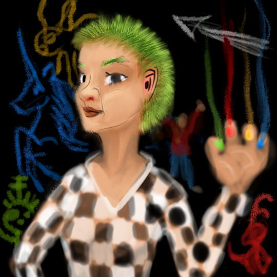 Boats, a pirate cyborg with short green hair, checkered shirt, and colored pen nibs for fingernails. Dream sketch by Wayan.