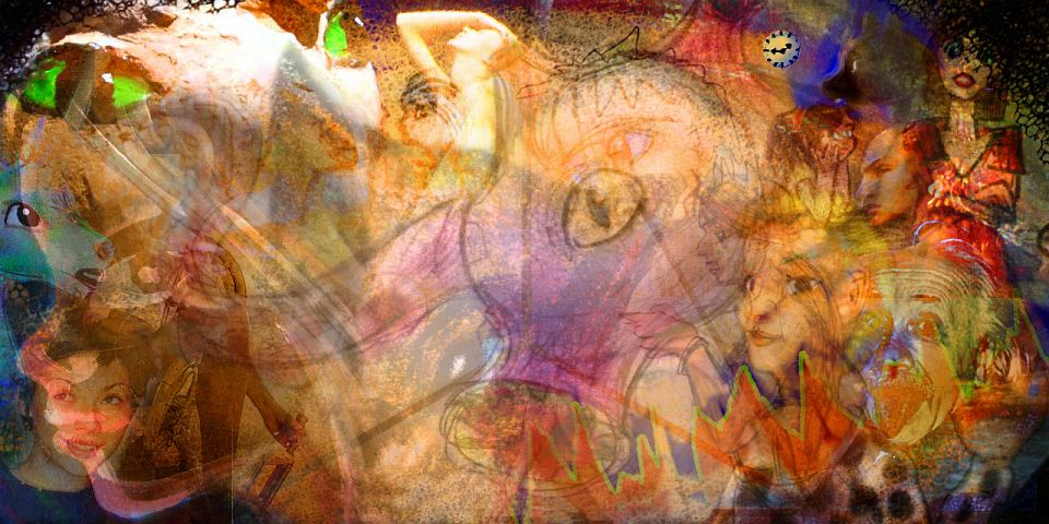 I see many timelines at once, in a brown hazy mishmash. Dream sketch by Wayan; click to enlarge.