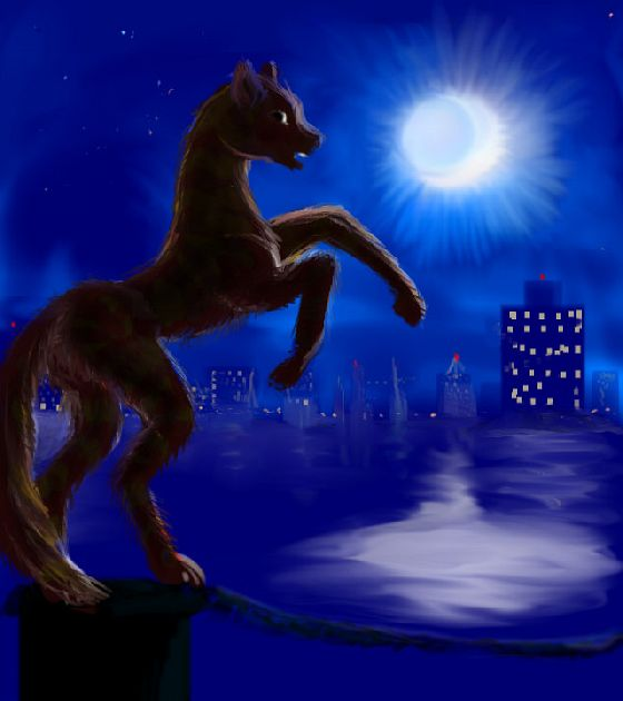 Night. A harbor. Jeryl, who looks like a tiger-striped pony, rears and challenges the moon. Dream sketch by Wayan; click to enlarge.