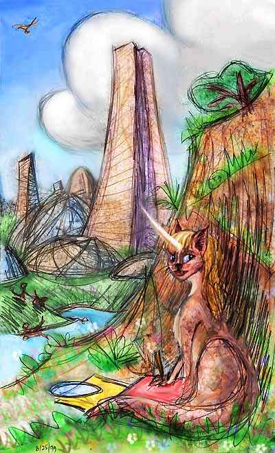 An Atheleni, a sort of unicorn-tiger, amid the domes and spires of New Vancouver. Dream sketch by Wayan; click to enlarge.