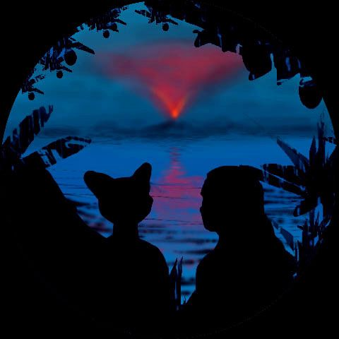 Night scene: silhouettes of two tourists, a human and a large feline, looking out from jungle across a blue gulf at an inverted cone of firelight: clouds lit by Mt Ammavaru, a possibly active volcano in the central Lada region of terraformed Venus.